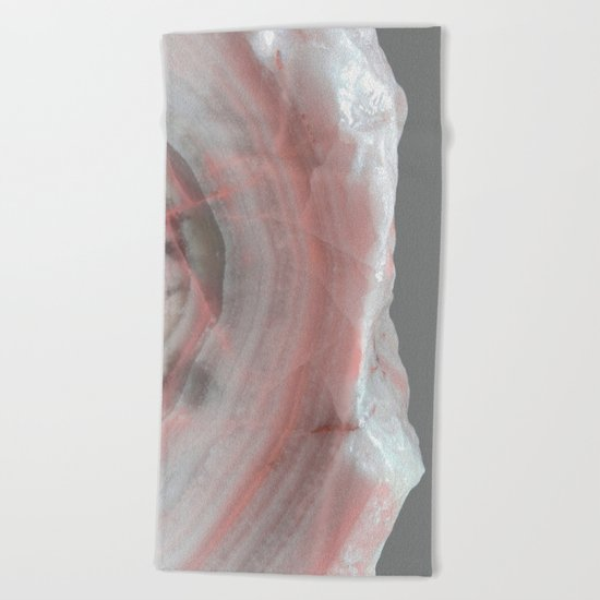 Grey Marble with Pink Beach Towel