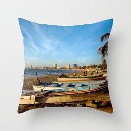 Mazatlan Beach & Boats Throw Pillow