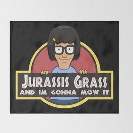 Jurassis Grass (Your ass is grass) Throw Blanket