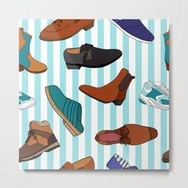 Funky Mens Shoes Pattern Metal Print