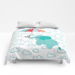Elephant with umbrella , nursery decor , Comforters
