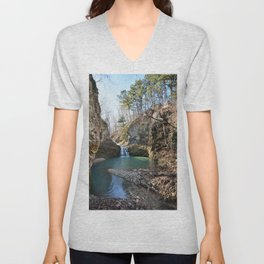 Alone in Secret Hollow with the Caves, Cascades, and Critters - Approaching the Falls Unisex V-Neck