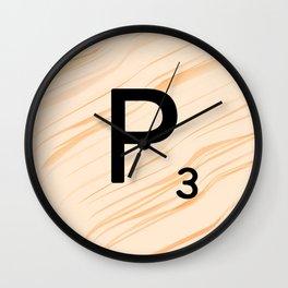 Scrabble Letter P - Large Scrabble Tiles Wall Clock