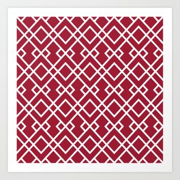 University of Alabama colors trendy patterns minimal pattern college football sports Art Print