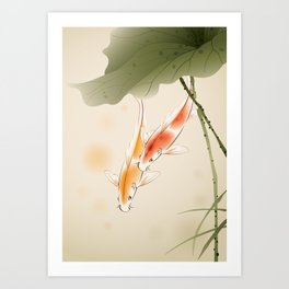 Koi fishes in lotus pond Art Print