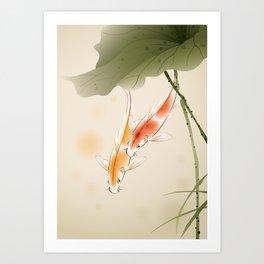 Koi fishes in lotus pond Kunstdrucke