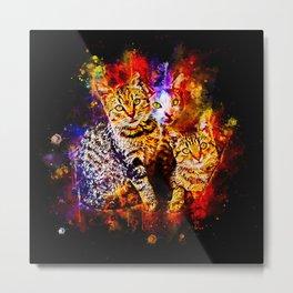 cat trio splatter watercolor Metal Print