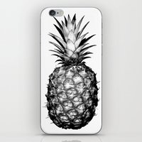pinapple iPhone & iPod Skins featuring Black & White Pineapple by CumulusFactory