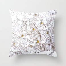 Song Birds In Snowy Branches Throw Pillow