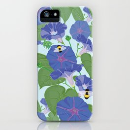 Glory Bee - Vintage Floral Morning Glories and Bumble Bees iPhone Case