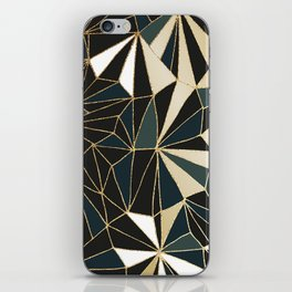 New Art Deco Geometric Pattern - Emerald green and Gold iPhone Skin