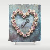 key Shower Curtains featuring The key to your heart by Maria Heyens