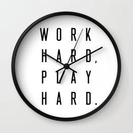 Work Hard Play Hard White Wall Clock