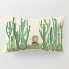 In my happy place - hedgehog meditating in cactus jungle Pillow Sham