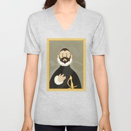 Nobleman with his Hand on his Chest by Greco Unisex V-Neck