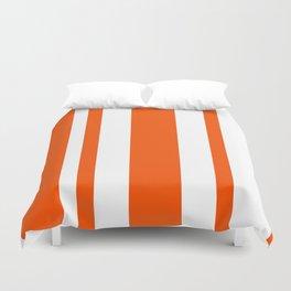 Mixed Vertical Stripes - White and Dark Orange Duvet Cover