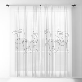 Abstract Faces in One Simple Line Sheer Curtain