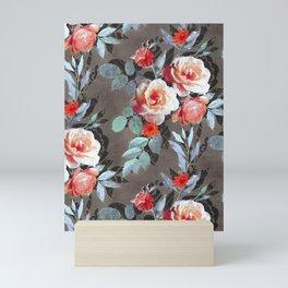 Retro Rose Chintz in Scarlet, Peach, Sage and Grey Mini Art Print