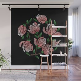 Embroidered Flowers on Black Circle 12 Wall Mural