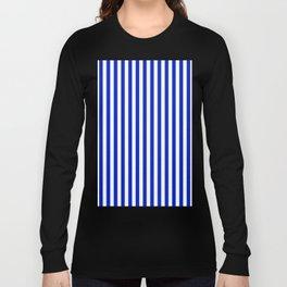 Cobalt Blue and White Vertical Deck Chair Stripe Long Sleeve T-shirt