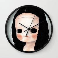 mona lisa Wall Clocks featuring Mona Lisa by Evangelione