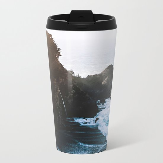 Cliff, Wave, and Beach Metal Travel Mug
