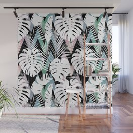 Blush pink green white hand painted tropical leaves chevron Wall Mural