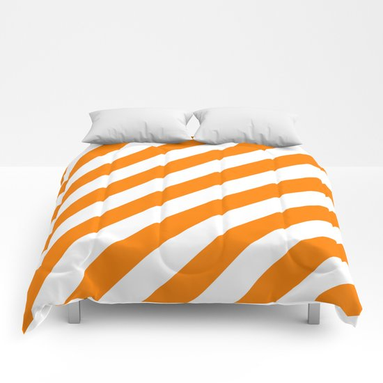 Diagonal Stripes (Orange/White) Comforters