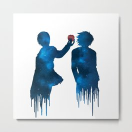 Death Note - Light and L Lawliet sihlouettes with apple (blue galaxy)   Anime and manga Metal Print