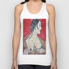 PORTRAIT OF A LADY EXPOSING HER TITS Unisex Tank Top