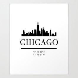 CHICAGO ILLINOIS BLACK SILHOUETTE SKYLINE ART Art Print