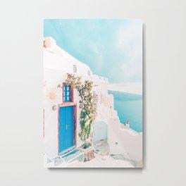 Santorini Greece Cozy blush travel photography in hd. Metal Print