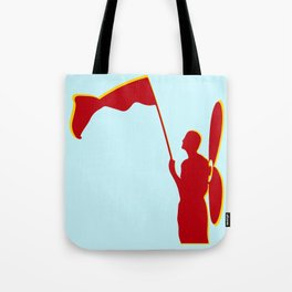 Man with a red flag and propeler  Tote Bag