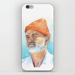 Steve Zissou Art Life Aquatic Bill Murray Watercolor Portrait iPhone Skin