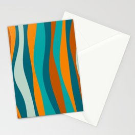 Liquid Stripes in Rust Orange Aqua Turquoise Teal  Stationery Cards