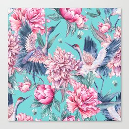 Teal peonies and birds Canvas Print
