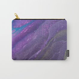 Fluid Art Acrylic Painting, Pour 29, Lime Green, Purple & Blue Blended Color Carry-All Pouch