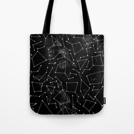 Modern  black white hand painted polka dots constellation stars Tote Bag