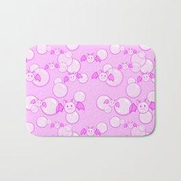 Bubbles and Bats Pink Bath Mat