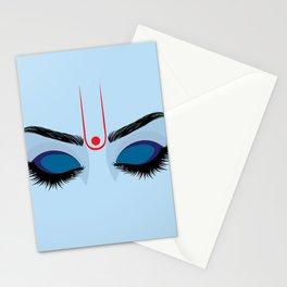 Indian god krishna eyes on blue skin Stationery Cards