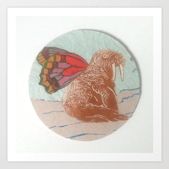 Winged Walrus Art Print