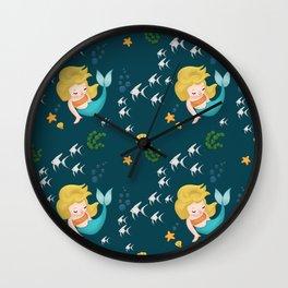 Mermaid Pattern Wall Clock