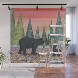 black bears & evergreens Wall Mural