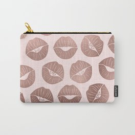 Girly Cute Artsy Rose Gold Hand Drawn Kiss Lips Carry-All Pouch