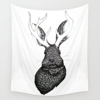 jackalope Wall Tapestries featuring The Jackalope by ECMazur