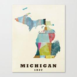 Michigan  state map modern Canvas Print