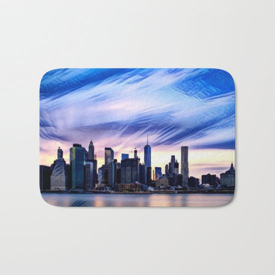 Romantic City Cityscape with Light Sunset and River Bath Mat