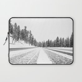 Snow Road // Snowy Winter Wonderland Black and White Landscape Photography Ski Poster Laptop Sleeve