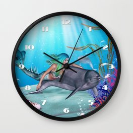 The Mermaid And The Dolphin Wall Clock