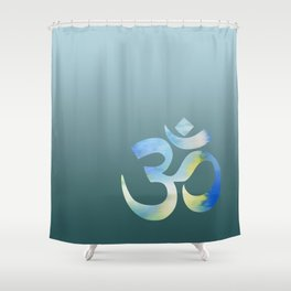 Teal Watercolor Om Shower Curtain